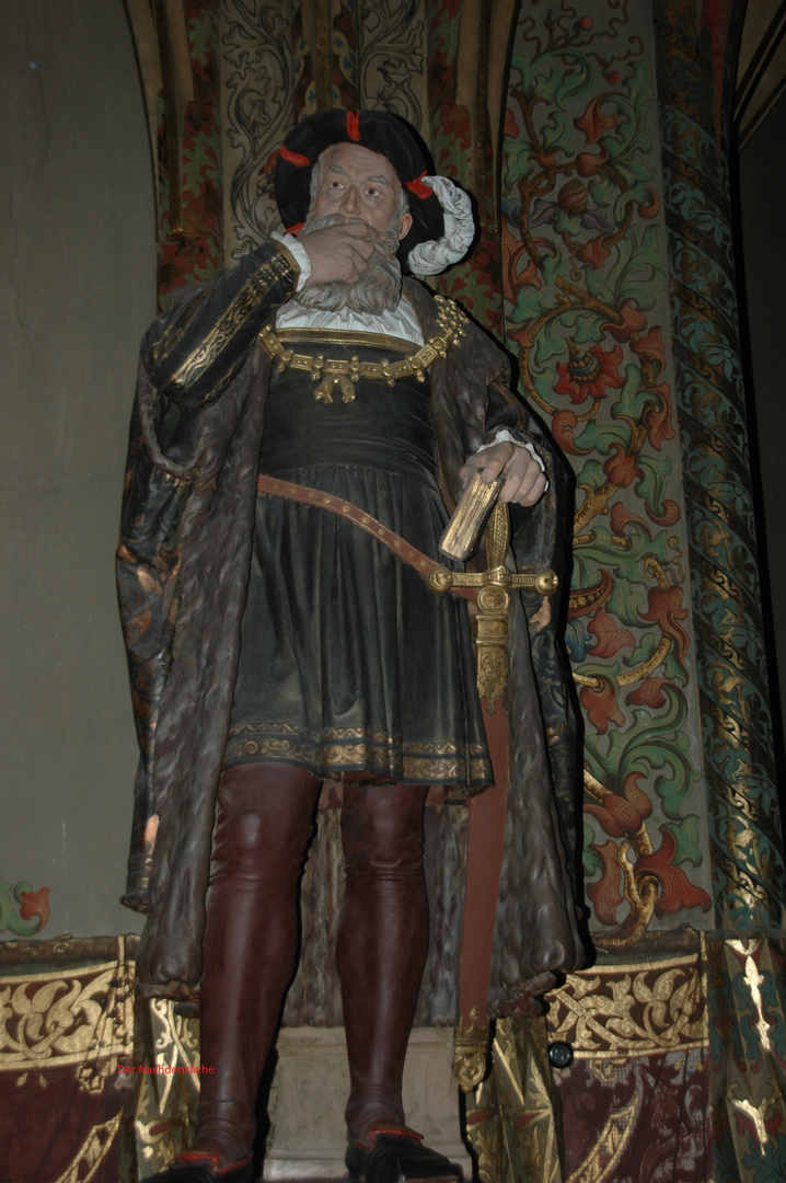Geschnitzte Skulptur eines Adligen in der Albrechtsburg in Meissen