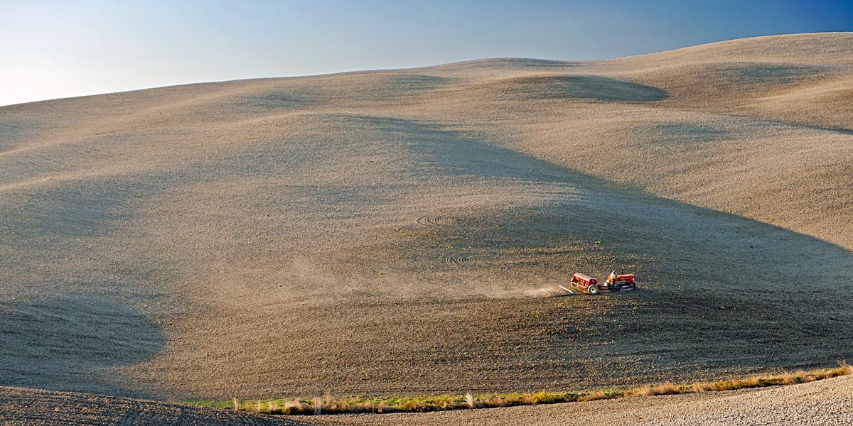 Getreidesaat in der Toskana