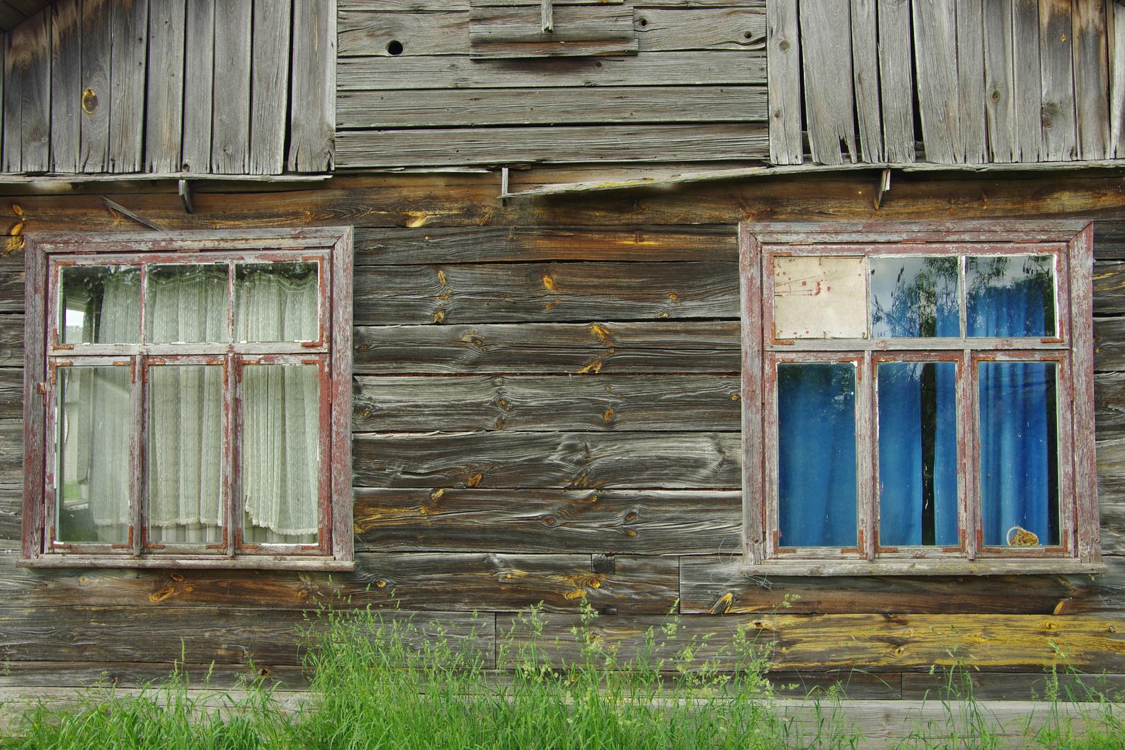 gezeichnete Fassade in Holz