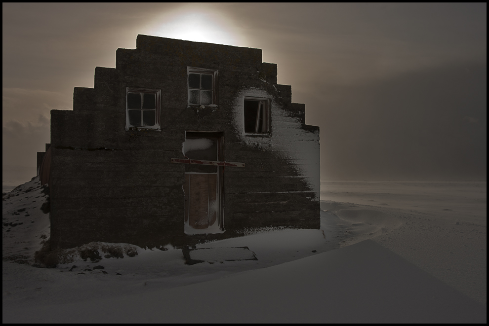 ghost house in snow storm