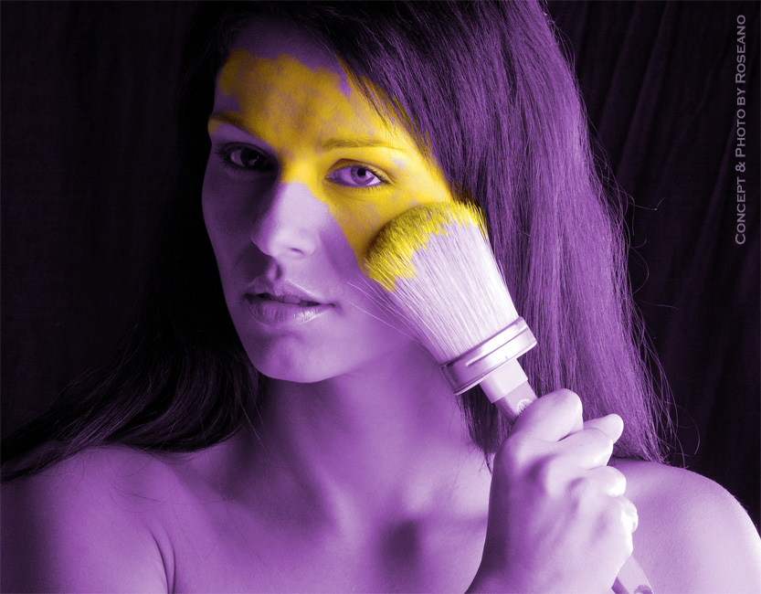 Girl in yellow and violet