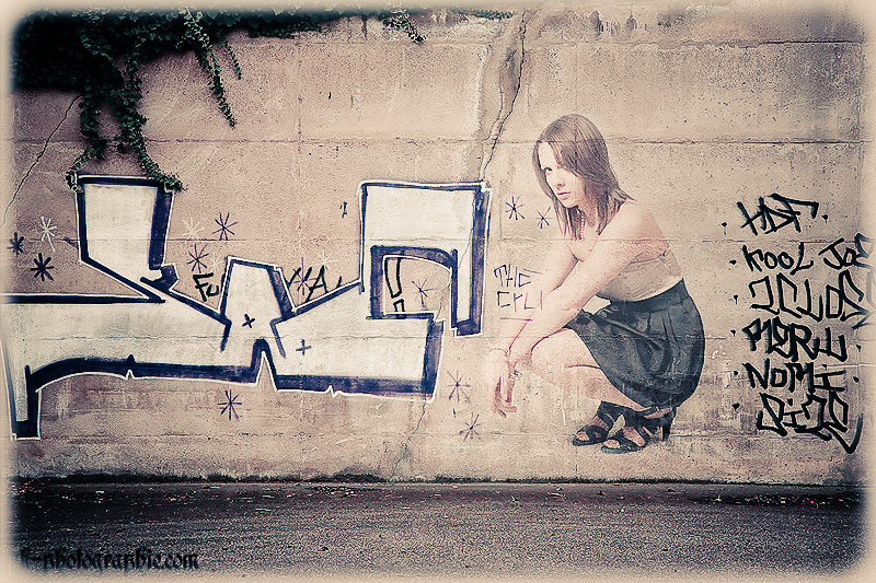 girl on a wall