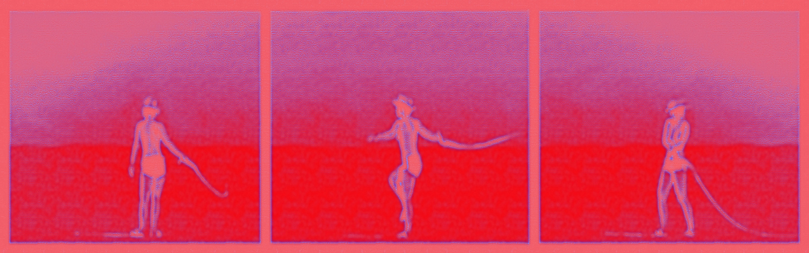 Girl swinging whip