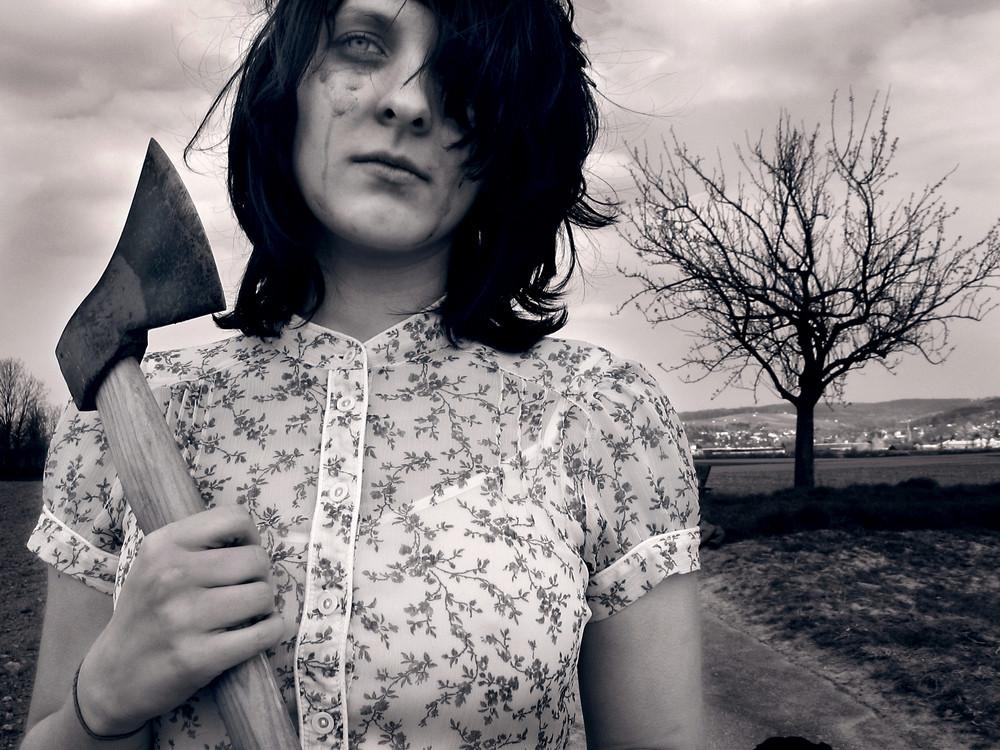 Girl with axe