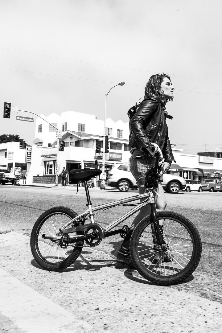 Girl with BMX at Venice Beach