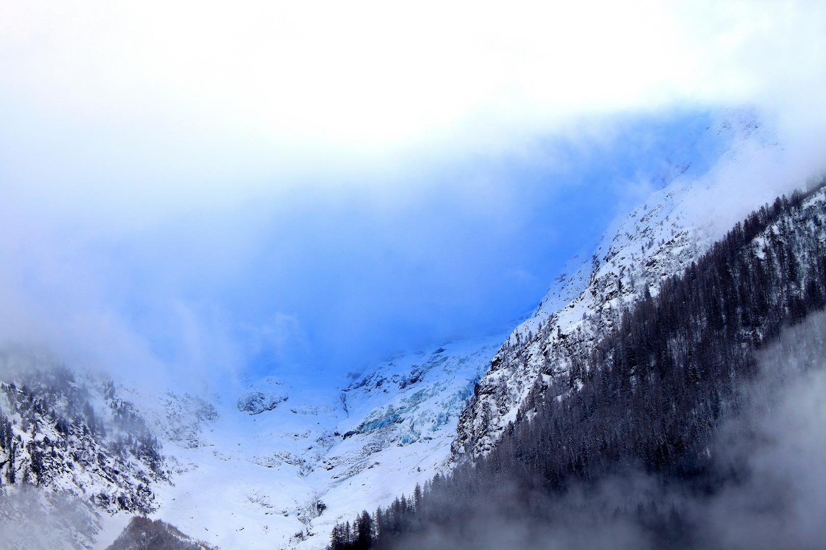 Glacier de Taconnaz en Hiver a cote des Bossons