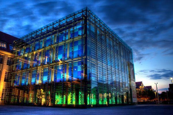 Glaswürfel bei ZKM in Karlsruhe