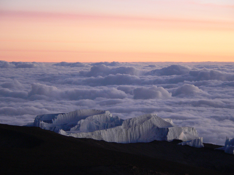 Gletscher im Morgenrot