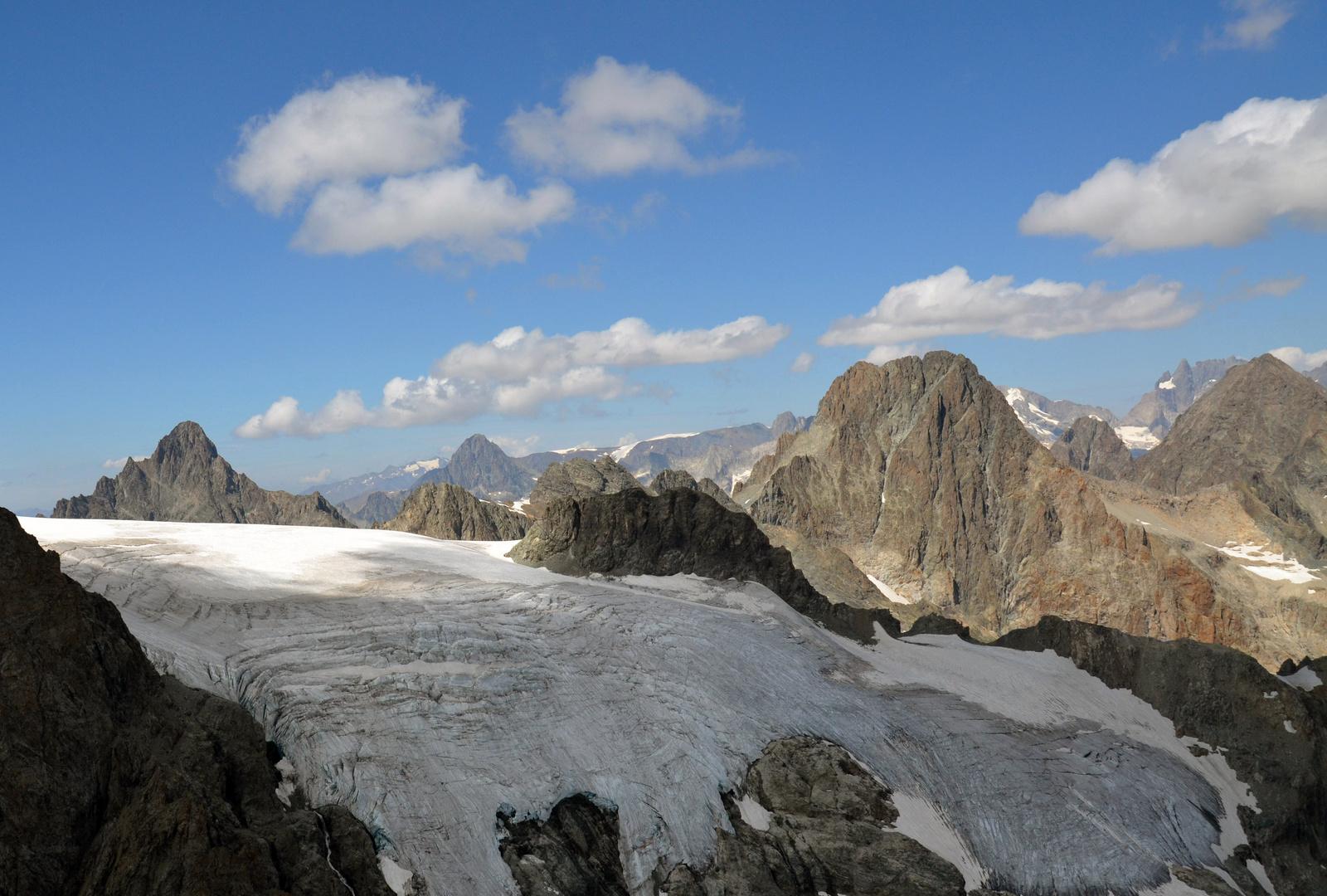 Gletscher und Gebirge in den Alpen (Süd-Frankreich)