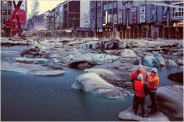 Gletschersee bei U-Bahnbau