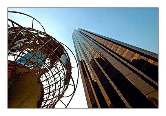 globe and skyscraper