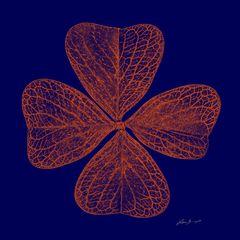 Glücksklee Grafik in Blau und Orange