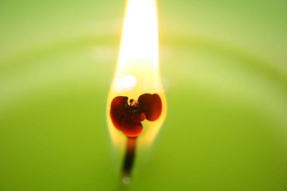 Glühender Kerzendocht