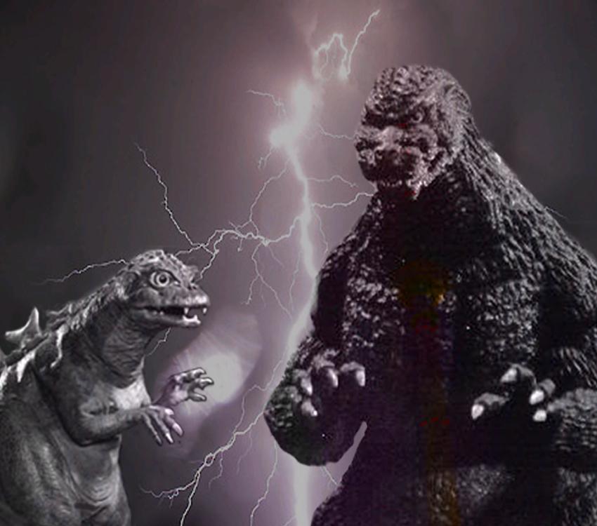 """Godzilla mit seinem """"Kleinen"""""""