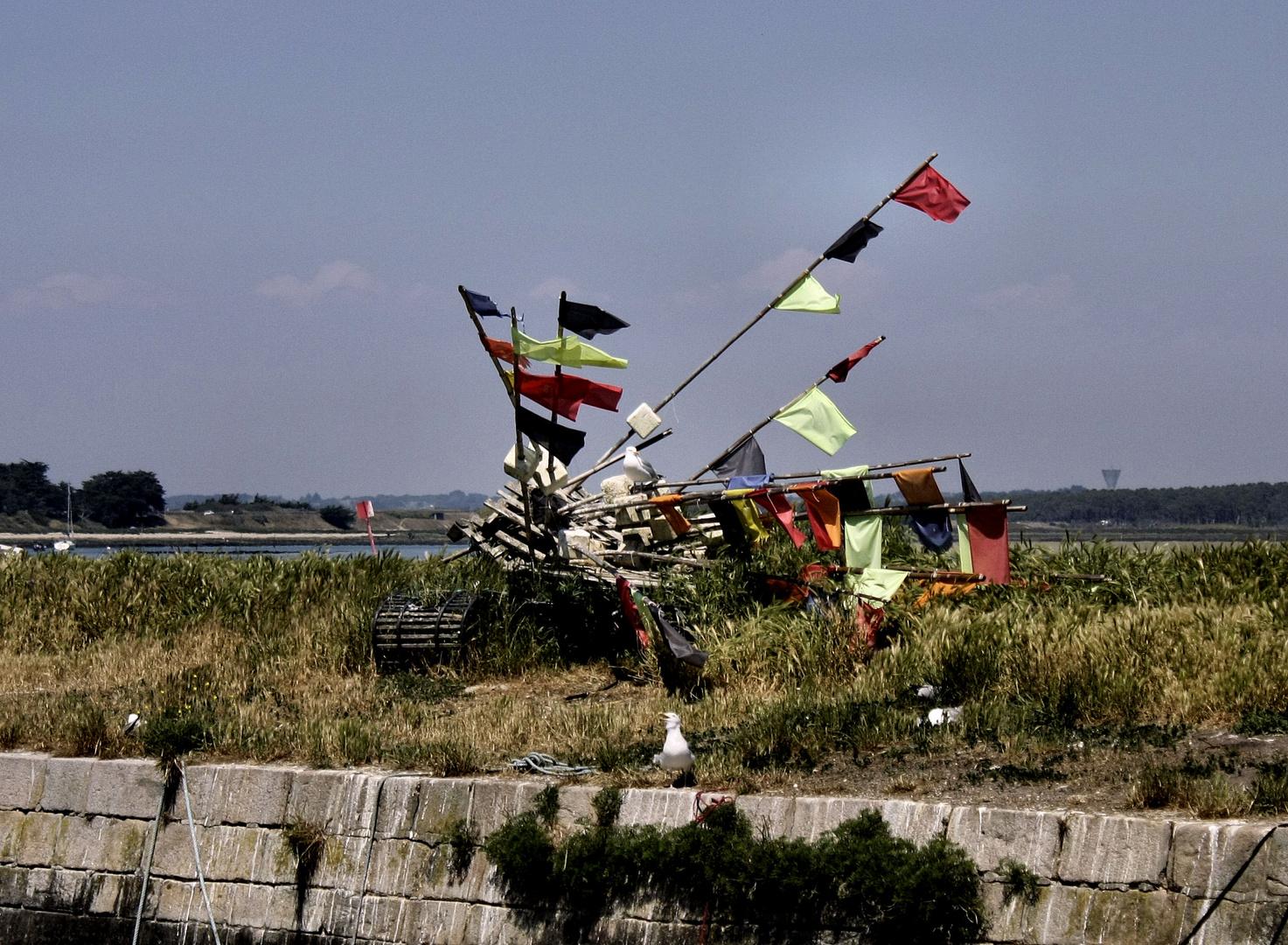 goélands et leurs drapeaux