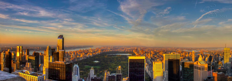Goldenes Licht über New York und Centralpark
