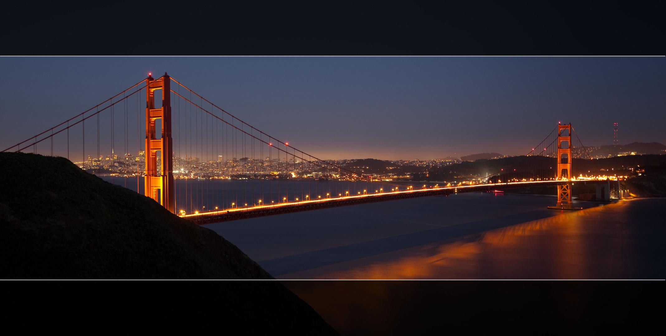 goldengate bridge bei nacht foto bild north america. Black Bedroom Furniture Sets. Home Design Ideas