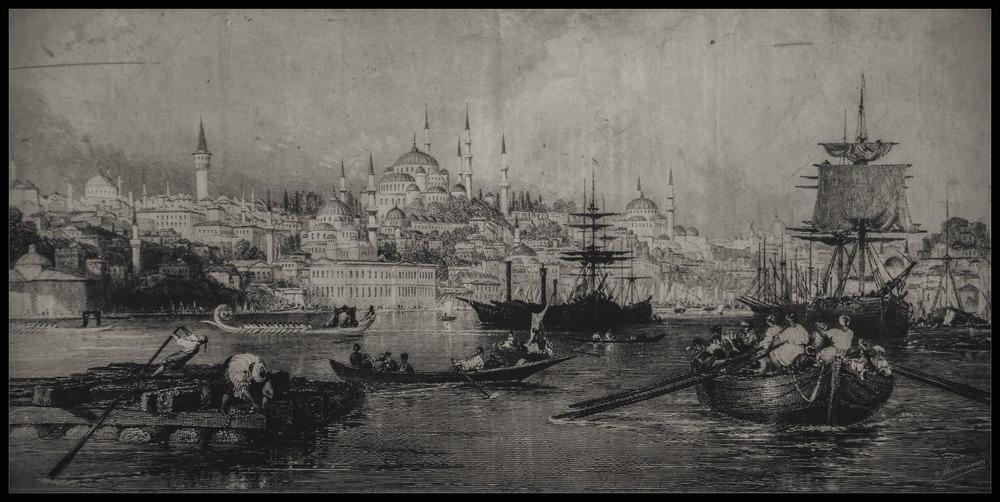 Grabado antiguo de Estambul (Turquía)