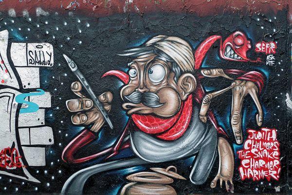 Graffiti am Rande des Mauerparks