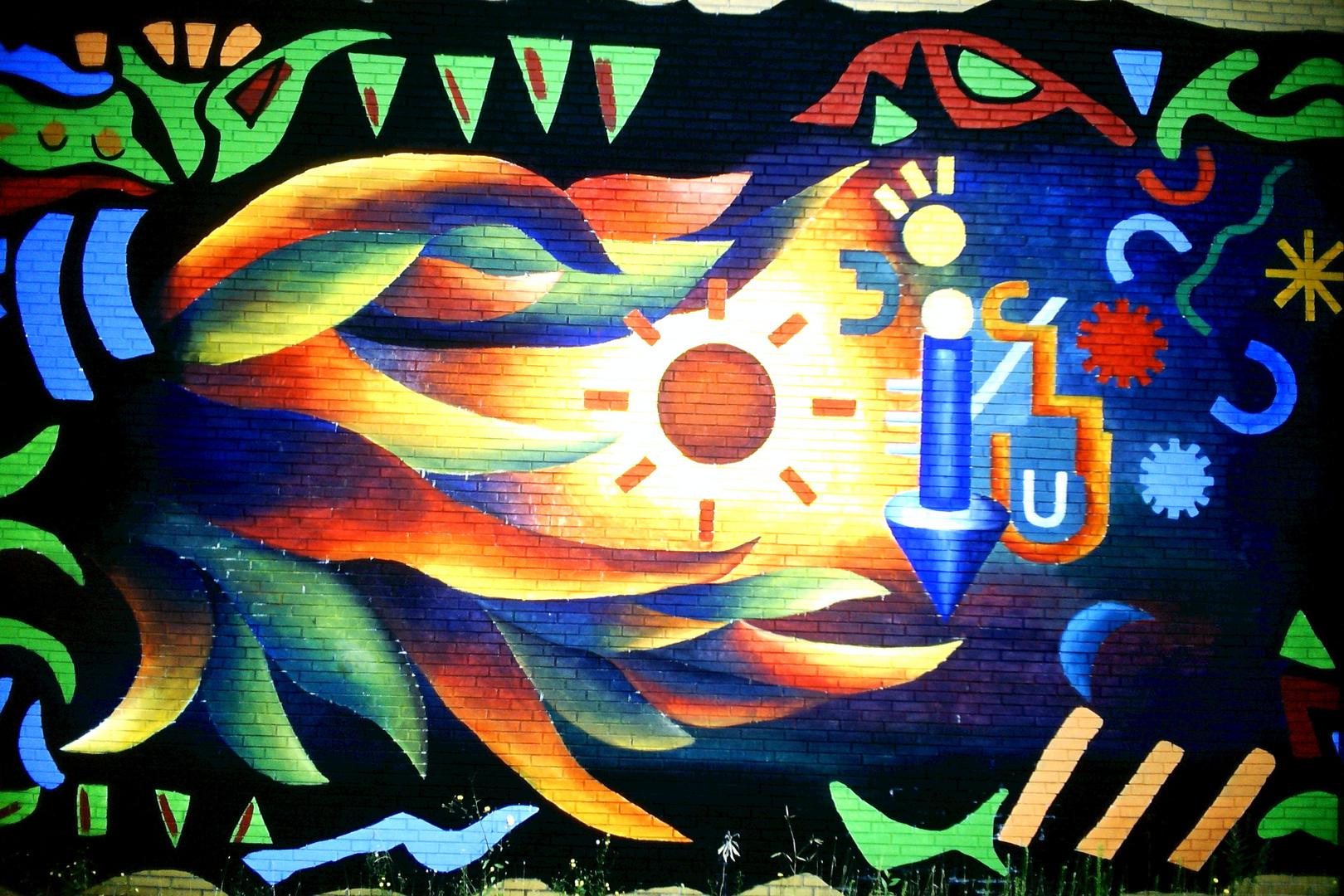 Graffiti an der Uni Straße Bochum.