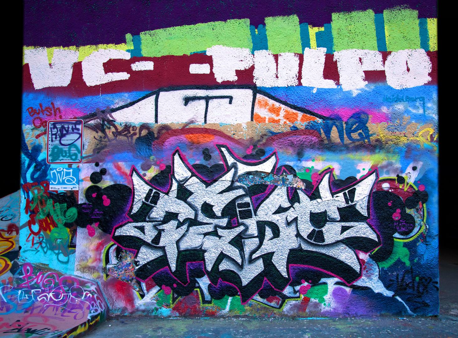 Graffiti an Skaterbahn Heidelberg