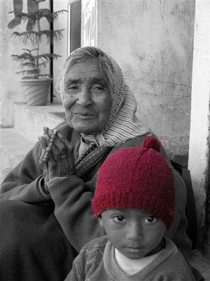 grandmother and begger boy
