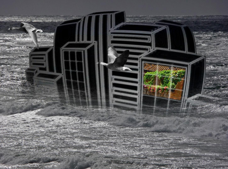 Graue Stadt am Meer