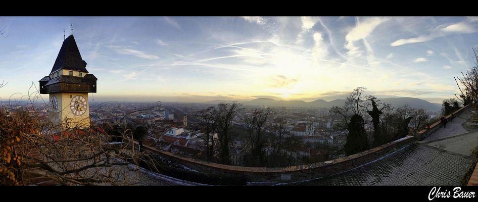 Graz bevor die Sonne untergeht