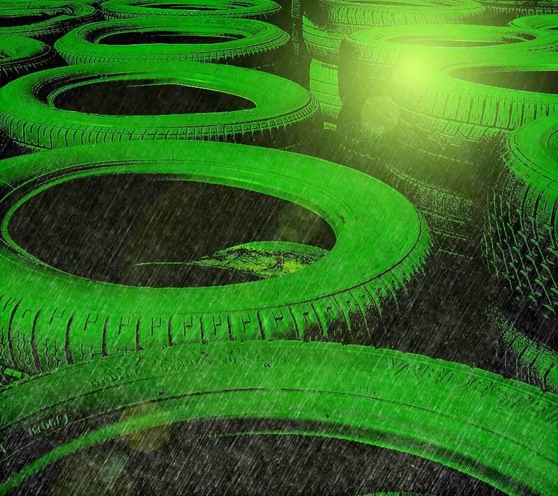 green tyres in rain