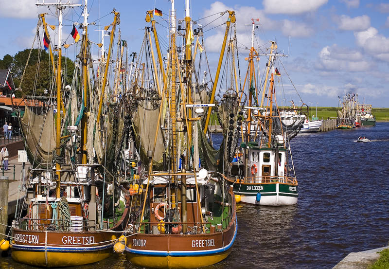 Greetsieler Krabbenkutter im romantischen Hafen