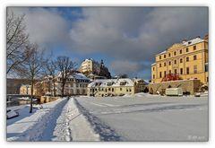 Greiz - Blick zum Oberen Schloss im Schnee