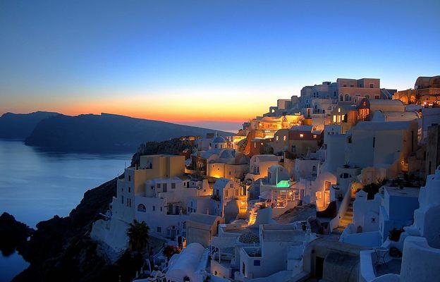 Griechenland Santorini Sonnenuntergang in Oia