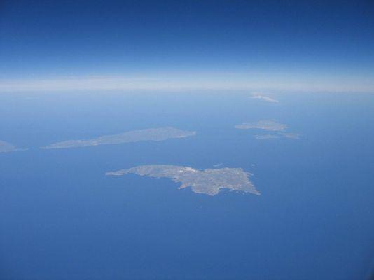 griechische Inseln aus dem Flugzeug