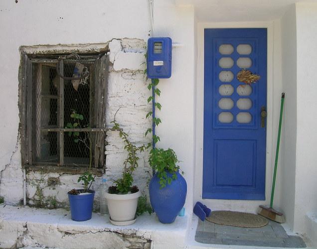 griechisches Blau-Weiss mit etwas Grün