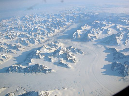Grönland beim Flug nach Vancouver