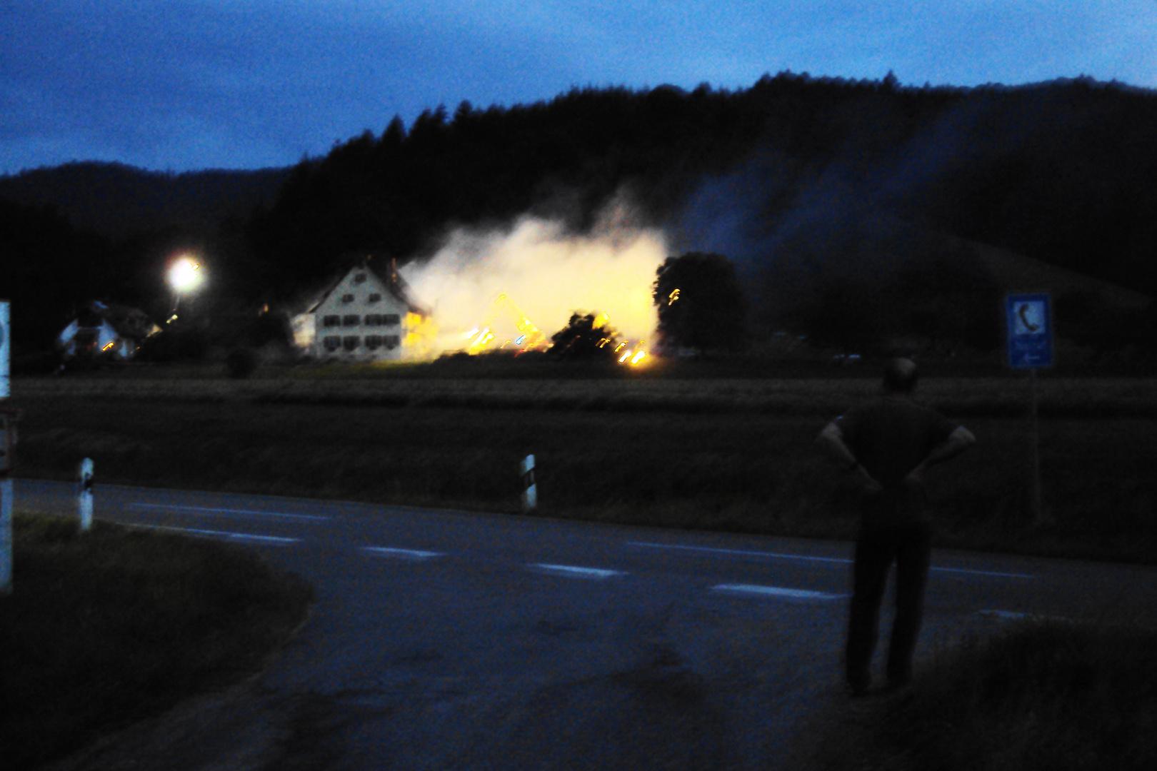 Großbrand im Münstertal am 5.7.2010, 21.50 Uhr