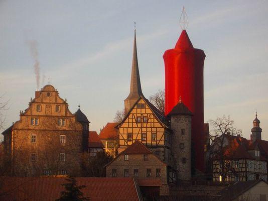 Große Weihnachtskerze in Schlitz