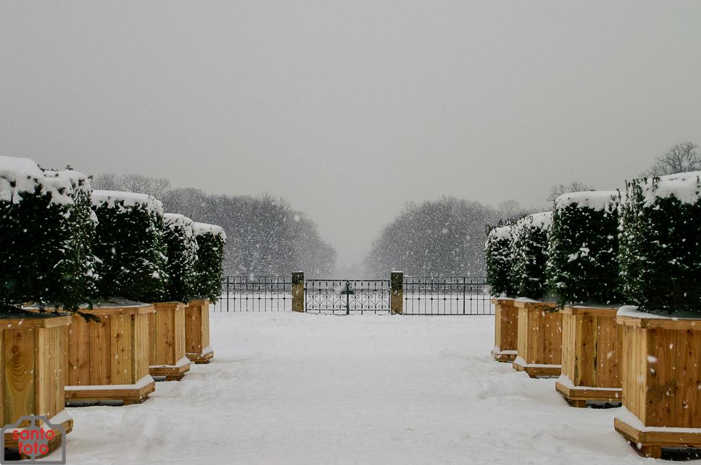 Großer Garten im Winter