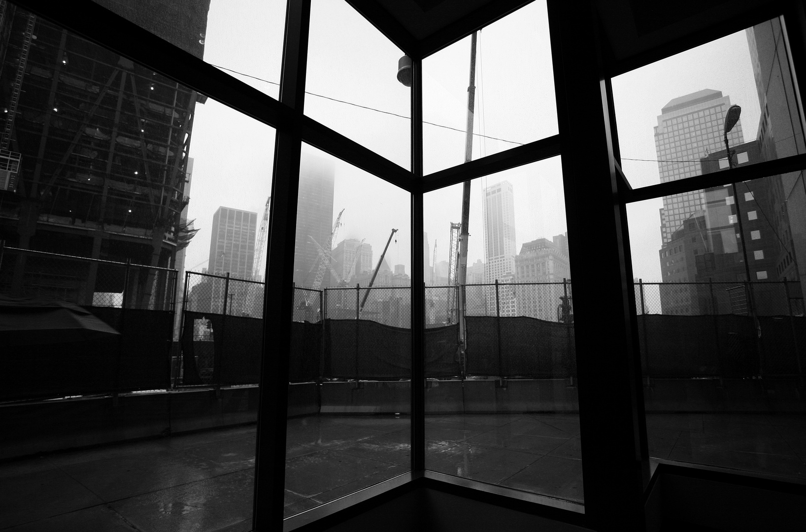 Ground Zero in the rain
