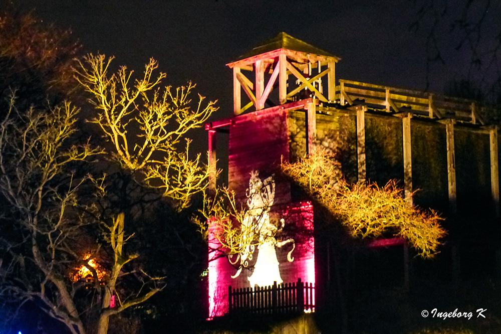 Grugapark - Lichterwochen - Rieselanlage des Kurhauses