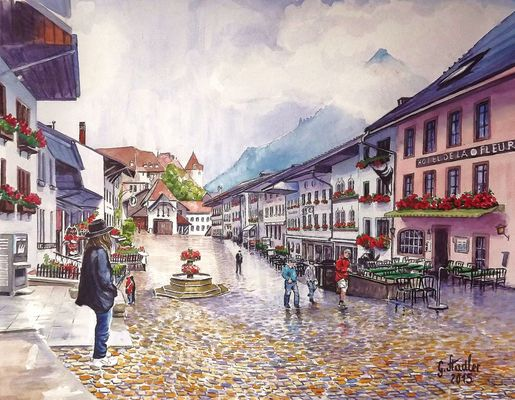 Gruyères (Schweiz) Aquarell auf Canson Montval 300g, 43 cm x 57 cm