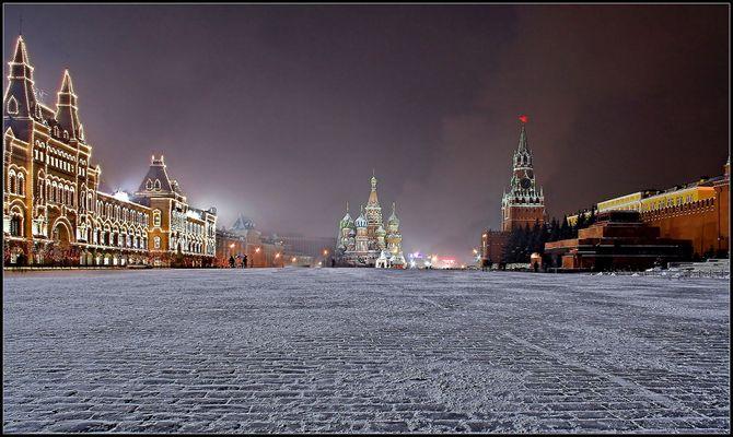 GUM -------------- Basilius Kathedrale -------------- Kreml --------------- Lenin Mausoleum @ -31°C