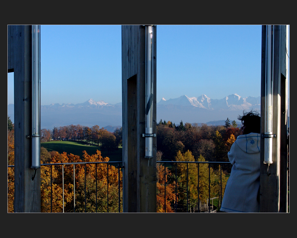 Gurten, Turmaussicht auf die Alpen