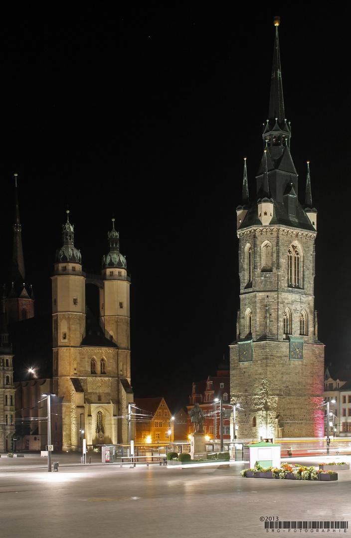 Händelstadt Halle/ Saale bei Nacht
