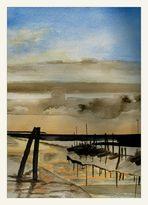 Hafen am Abend - Aquarell von Eltje Jonassen