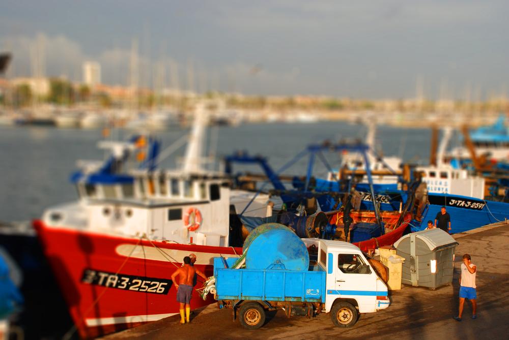 Hafen von Cambrils in Tilt-Shift-Optik