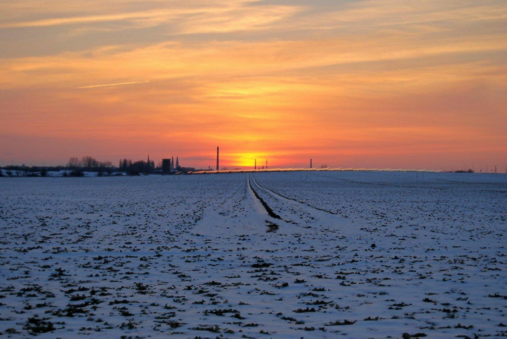 Halberstadt beim Sonnenuntergang