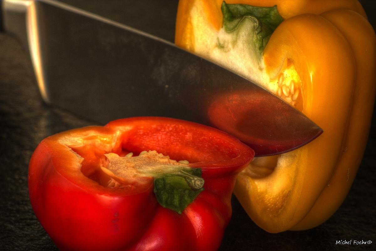 halbierte Paprika