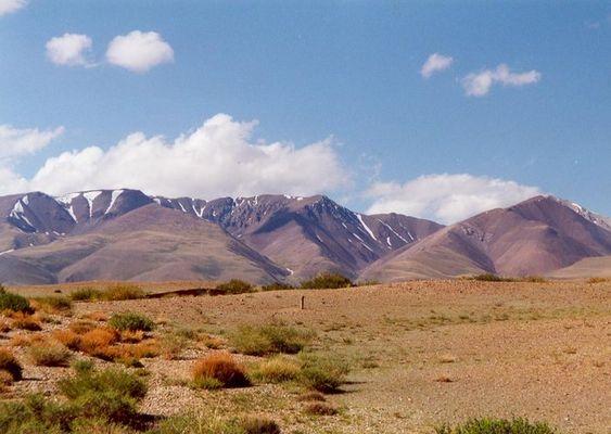 Halbwüste im Altaigebiet nah an der Grenze zur Mongolei