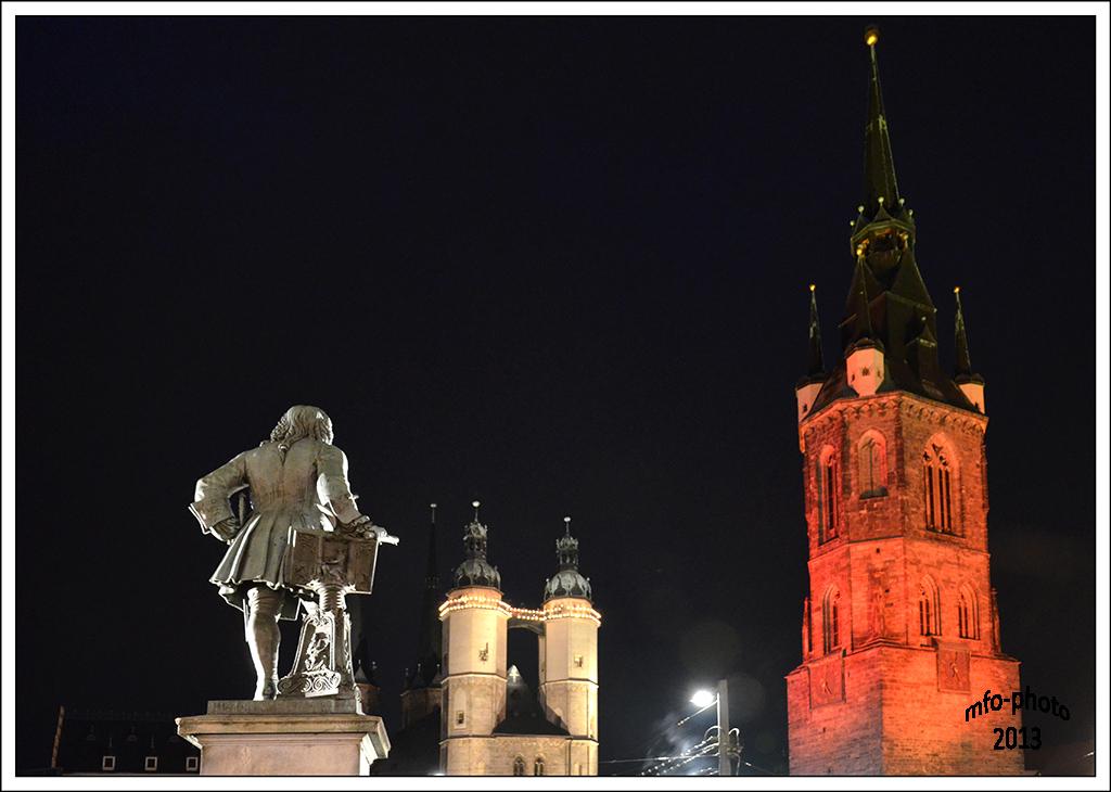 Halle (Saale) Stadtmitte bei Nacht